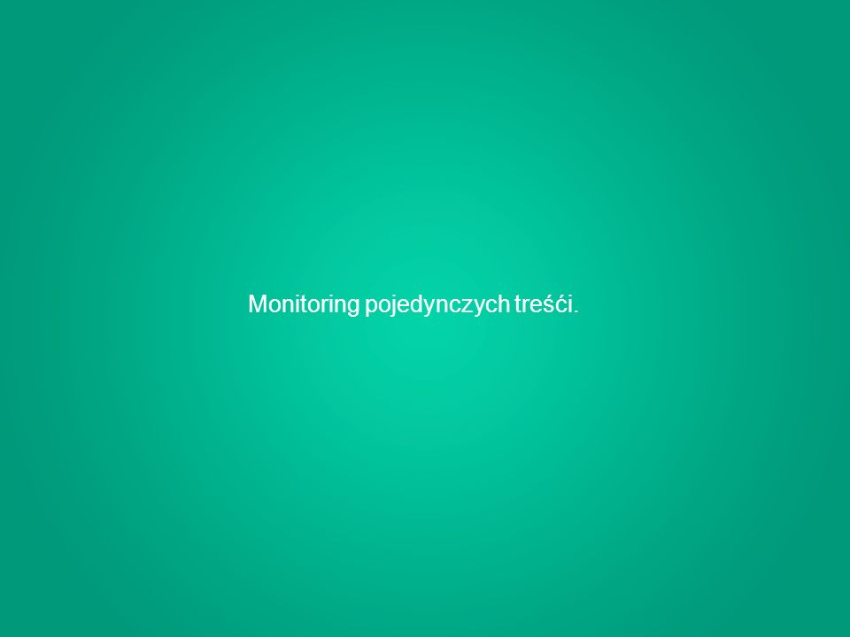 Monitoring pojedynczych treśći.
