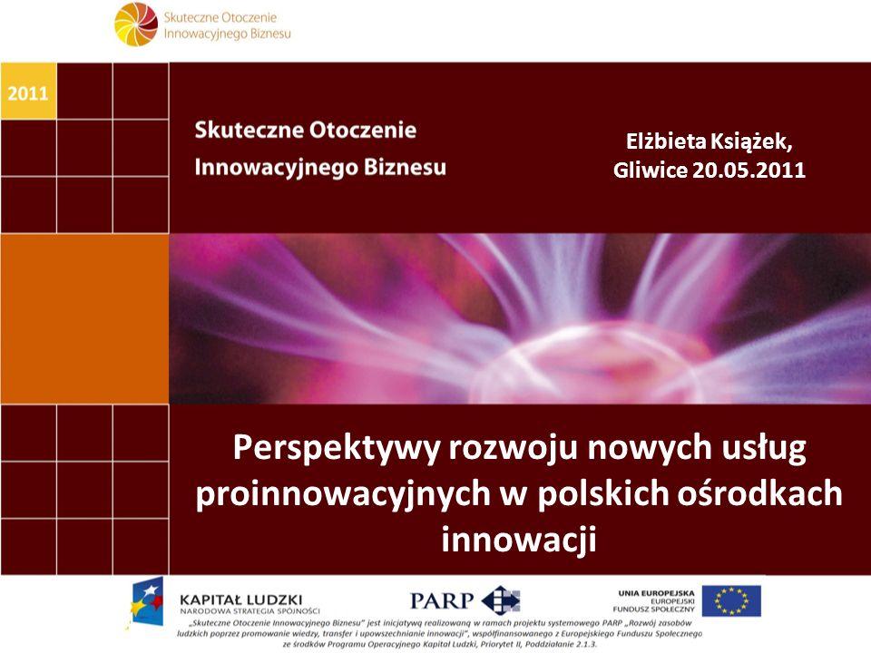 Perspektywy rozwoju nowych usług proinnowacyjnych w polskich ośrodkach innowacji Elżbieta Książek, Gliwice 20.05.2011