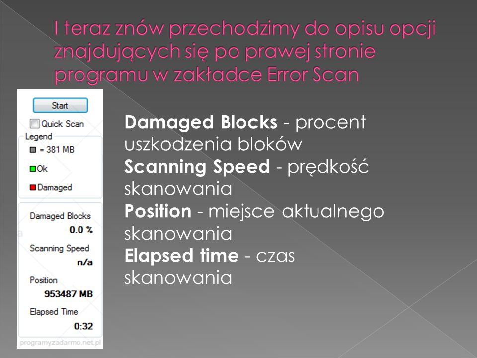 Damaged Blocks - procent uszkodzenia bloków Scanning Speed - prędkość skanowania Position - miejsce aktualnego skanowania Elapsed time - czas skanowania