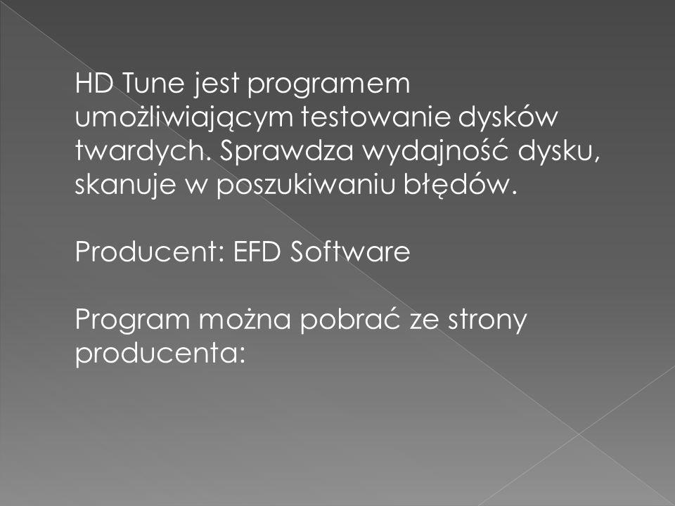 HD Tune jest programem umożliwiającym testowanie dysków twardych.