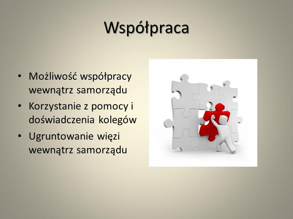 Współpraca Możliwość współpracy wewnątrz samorządu Korzystanie z pomocy i doświadczenia kolegów Ugruntowanie więzi wewnątrz samorządu
