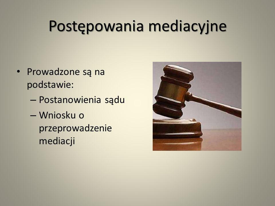 Postępowania mediacyjne Prowadzone są na podstawie: – Postanowienia sądu – Wniosku o przeprowadzenie mediacji