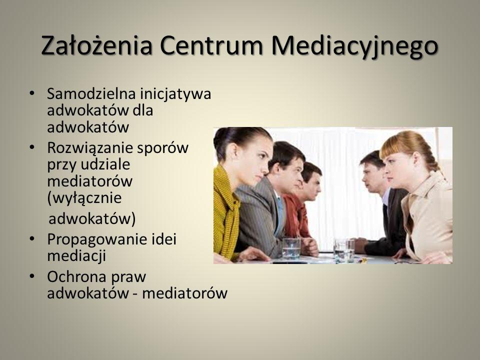 Założenia Centrum Mediacyjnego Samodzielna inicjatywa adwokatów dla adwokatów Rozwiązanie sporów przy udziale mediatorów (wyłącznie adwokatów) Propagowanie idei mediacji Ochrona praw adwokatów - mediatorów