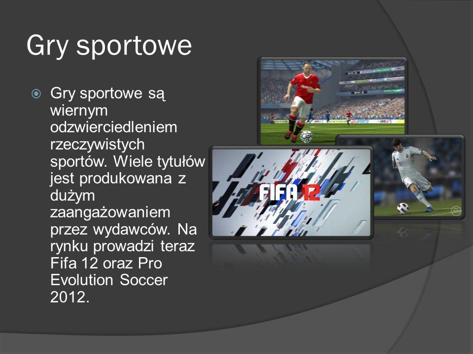 Gry sportowe Gry sportowe są wiernym odzwierciedleniem rzeczywistych sportów. Wiele tytułów jest produkowana z dużym zaangażowaniem przez wydawców. Na