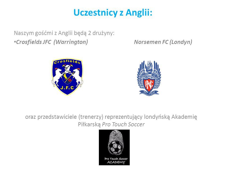 Uczestnicy z Anglii: Naszym gośćmi z Anglii będą 2 drużyny: Crosfields JFC (Warrington) Norsemen FC (Londyn) oraz przedstawiciele (trenerzy) reprezentujący londyńską Akademię Piłkarską Pro Touch Soccer