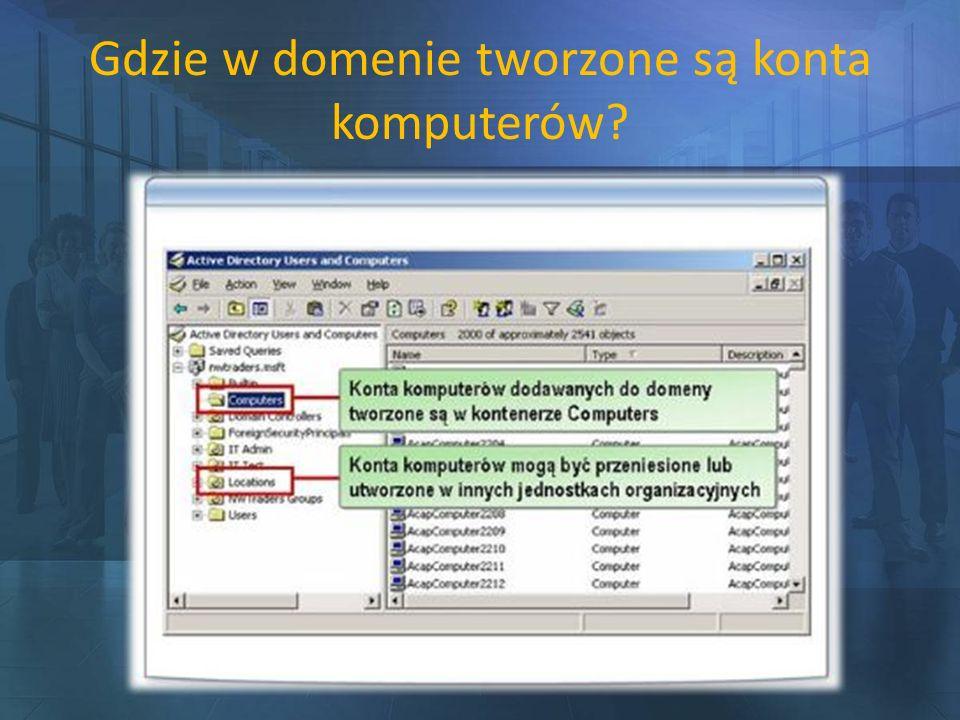 Gdzie w domenie tworzone są konta komputerów?