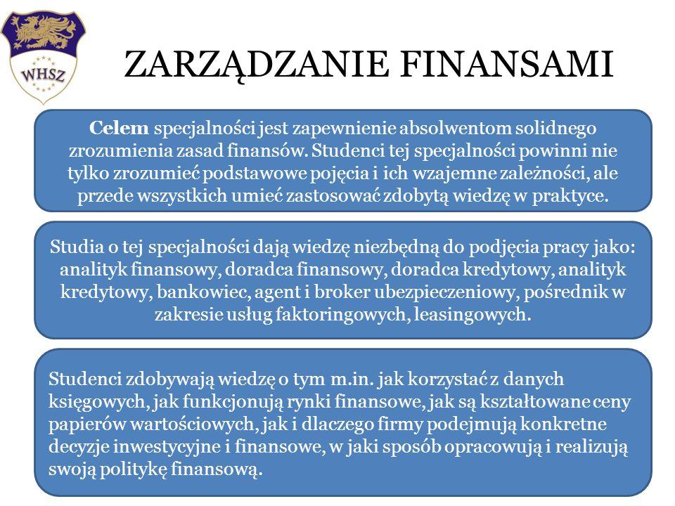 ZARZĄDZANIE FINANSAMI Wyższa Hanzeatycka Szkoła Zarządzania w Słupsku Celem specjalności jest zapewnienie absolwentom solidnego zrozumienia zasad finansów.