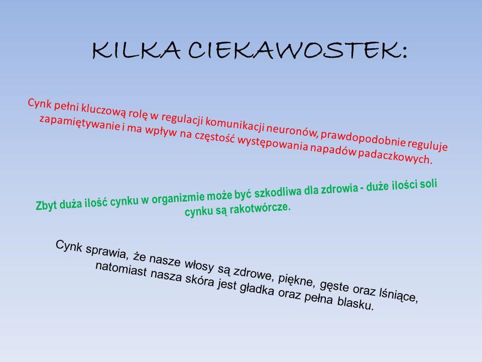 Źródła: http://wlosy.hostil.pl/ciekawostki/cynk-i-jego- wplyw-na-wlosy/ http://pl.wikipedia.org/wiki/Cynk http://www.witaminka.info/cynk.php