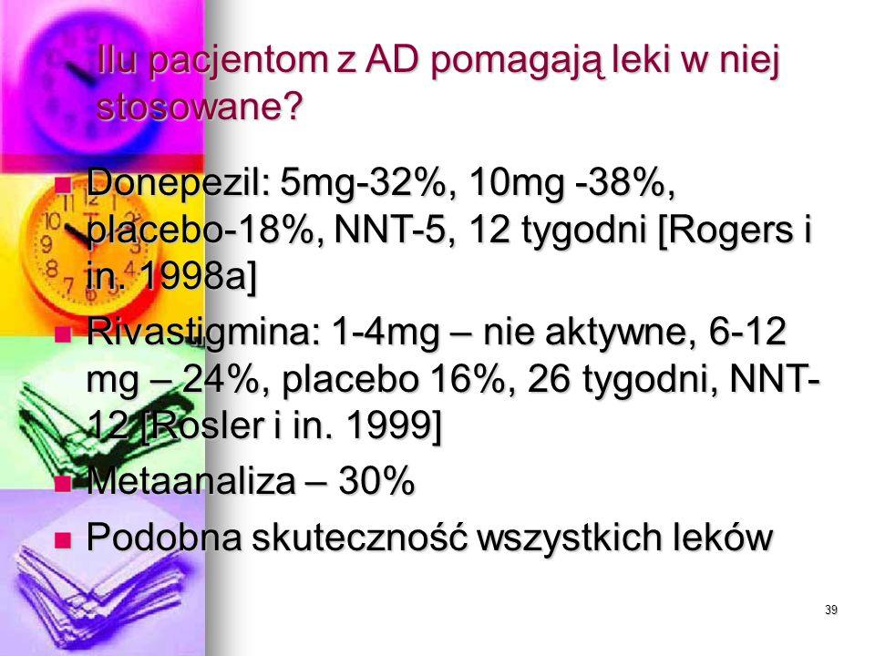 39 Ilu pacjentom z AD pomagają leki w niej stosowane? Donepezil: 5mg-32%, 10mg -38%, placebo-18%, NNT-5, 12 tygodni [Rogers i in. 1998a] Donepezil: 5m