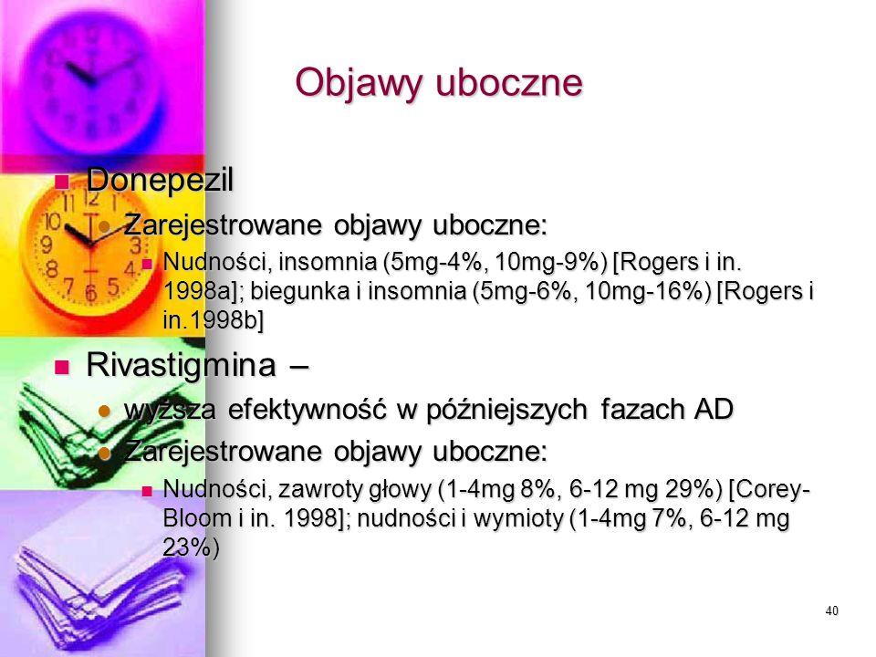 40 Objawy uboczne Donepezil Donepezil Zarejestrowane objawy uboczne: Zarejestrowane objawy uboczne: Nudności, insomnia (5mg-4%, 10mg-9%) [Rogers i in.