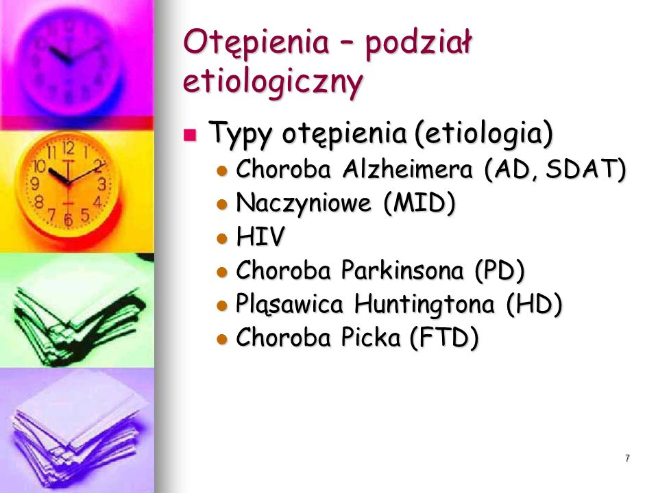 Spektrum zaburzeń neurokognitywnych ZmianaUzasadnienie Wprowadzenie nowego terminu duże zaburzenia neurokognitywne i nowej diagnozy łagodne zaburzenia kognitywne Wprowadzenie diagnozy łagodnego zaburzenia nurokognitywnego obrazuje stadia predementywne zaburzeń neurokognitywnych i wiąże się z innymi standardami opieki i terapii Postacie ze względu na etiologię, zaburzenia neurokognitywne związane z : Chorobą Alzheimera, otępieniem naczyniowym, otępieniem czołowo-skronowym, otępieniem z ciałami Lewyego, pourazowe, chorobami Parkinsona i Huntingtona, HIV, chorobami prionowymi, innymi chorobami somatycznymi Postęp w padaniach neurobiologicznych