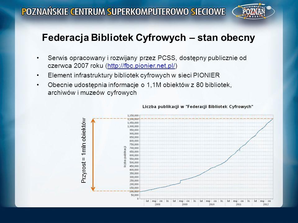 Federacja Bibliotek Cyfrowych – stan obecny Serwis opracowany i rozwijany przez PCSS, dostępny publicznie od czerwca 2007 roku (http://fbc.pionier.net