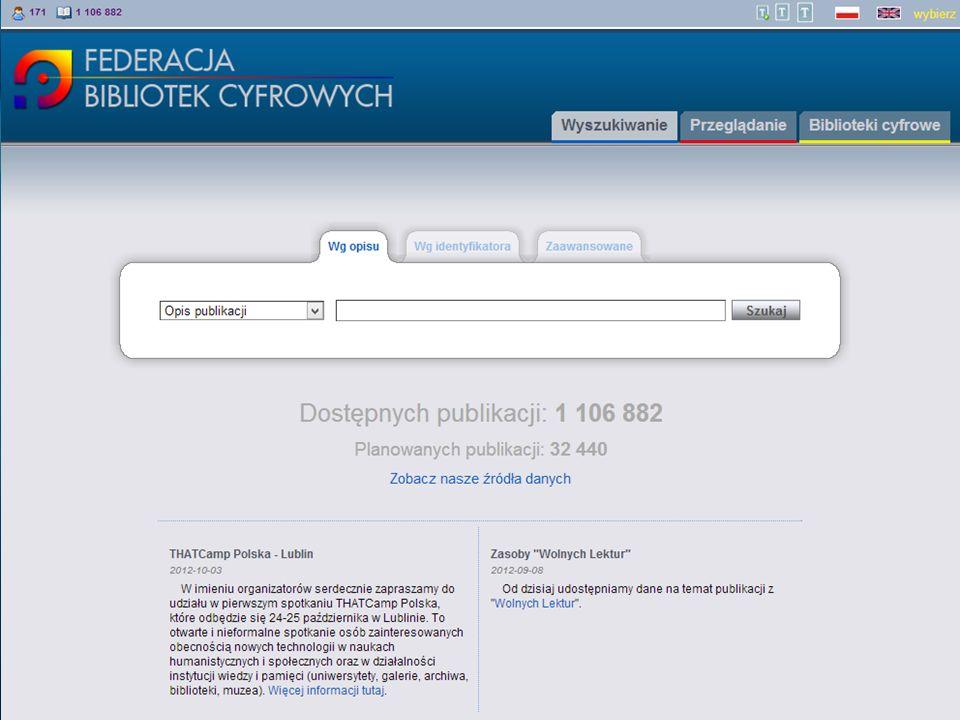 Federacja Bibliotek Cyfrowych – kierunki rozwoju Działania podejmowane w ramach współpracy międzynarodowej (http://dl.psnc.pl/activities/projekty/)http://dl.psnc.pl/activities/projekty/ –Projekt SUCCEED (2013-2014) Dalszy rozwój działalności europejskiego centrum kompetencji w zakresie masowej digitalizacji dokumentów tekstowych (http://www.digitisation.eu/)http://www.digitisation.eu/ –Projekt Europeana Cloud (2013-2016) Zaprojektowanie i stworzenie nowego systemu gromadzenia, składowania i przetwarzania danych dla Europeany Przekształcenie portalu The European Library w środowisko pracy dla naukowców –Projekt LoCloud (2013-2015) Opracowanie usług i narzędzi dla małych i bardzo małych instytucji kultury Biblioteki cyfrowe jako usługa w chmurze (model SaS)
