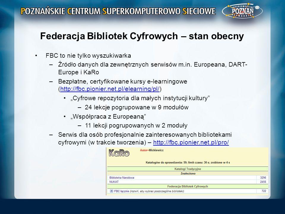 Federacja Bibliotek Cyfrowych – stan obecny FBC to nie tylko wyszukiwarka –Źródło danych dla zewnętrznych serwisów m.in. Europeana, DART- Europe i KaR