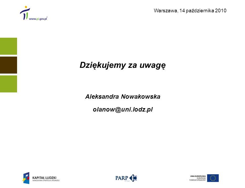 Warszawa, 14 października 2010 Dziękujemy za uwagę Aleksandra Nowakowska olanow@uni.lodz.pl