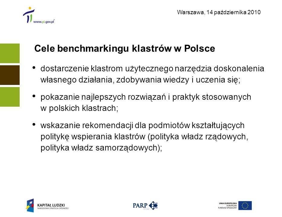 Warszawa, 14 października 2010 Cele benchmarkingu klastrów w Polsce dostarczenie klastrom użytecznego narzędzia doskonalenia własnego działania, zdoby