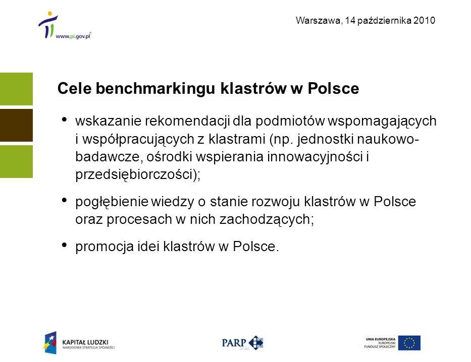 Warszawa, 14 października 2010 Cele benchmarkingu klastrów w Polsce wskazanie rekomendacji dla podmiotów wspomagających i współpracujących z klastrami