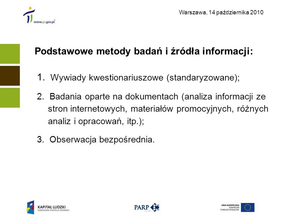 Warszawa, 14 października 2010 Podstawowe metody badań i źródła informacji: 1. Wywiady kwestionariuszowe (standaryzowane); 2. Badania oparte na dokume