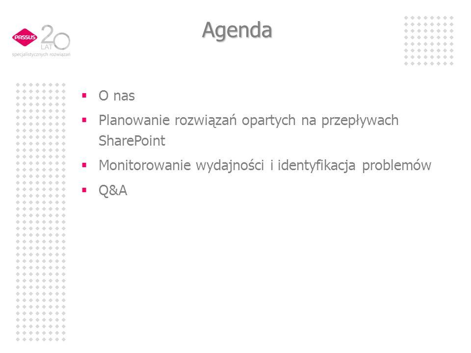 Agenda O nas Planowanie rozwiązań opartych na przepływach SharePoint Monitorowanie wydajności i identyfikacja problemów Q&A
