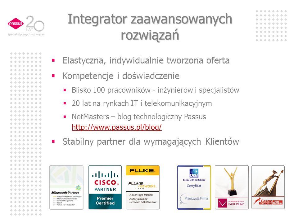 Elastyczna, indywidualnie tworzona oferta Kompetencje i doświadczenie Blisko 100 pracowników - inżynierów i specjalistów 20 lat na rynkach IT i telekomunikacyjnym NetMasters – blog technologiczny Passus http://www.passus.pl/blog/ http://www.passus.pl/blog/ Stabilny partner dla wymagających Klientów Integrator zaawansowanych rozwiązań