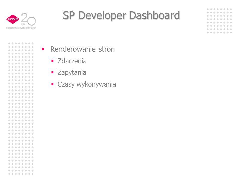 SP Developer Dashboard Renderowanie stron Zdarzenia Zapytania Czasy wykonywania