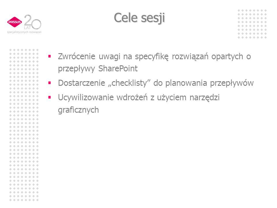 Cele sesji Zwrócenie uwagi na specyfikę rozwiązań opartych o przepływy SharePoint Dostarczenie checklisty do planowania przepływów Ucywilizowanie wdrożeń z użyciem narzędzi graficznych
