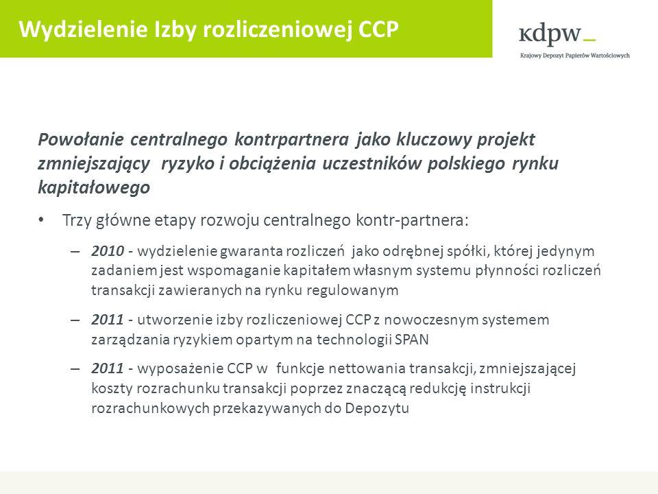 Wydzielenie Izby rozliczeniowej CCP Powołanie centralnego kontrpartnera jako kluczowy projekt zmniejszający ryzyko i obciążenia uczestników polskiego
