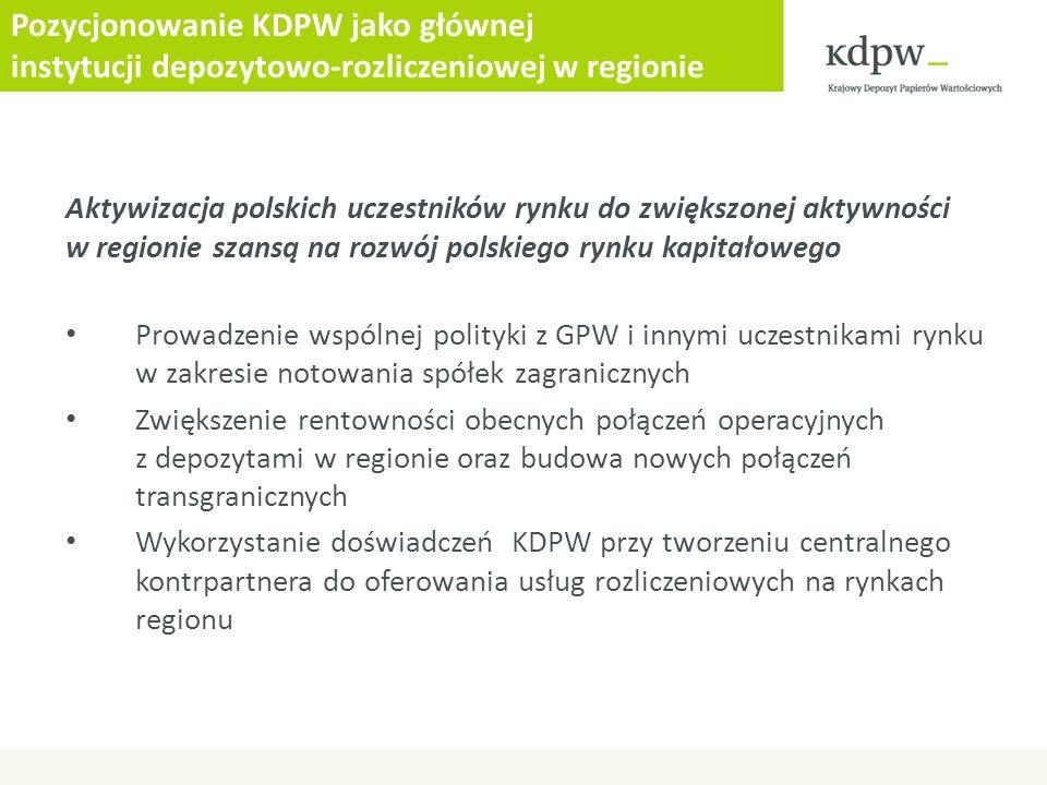 Pozycjonowanie KDPW jako głównej instytucji depozytowo-rozliczeniowej w regionie Aktywizacja polskich uczestników rynku do zwiększonej aktywności w re