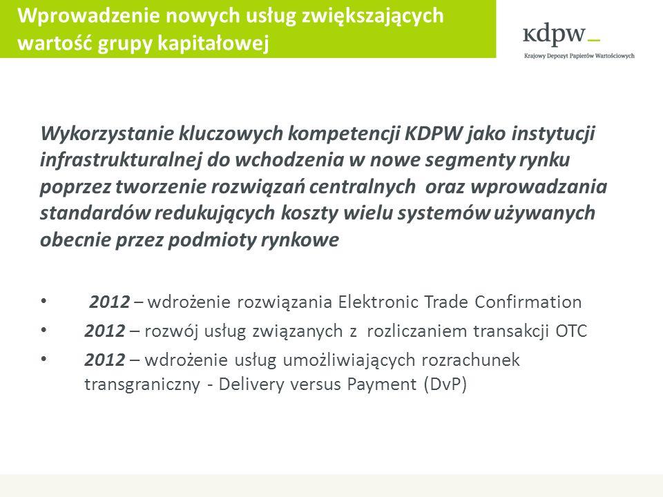 Wprowadzenie nowych usług zwiększających wartość grupy kapitałowej Wykorzystanie kluczowych kompetencji KDPW jako instytucji infrastrukturalnej do wch