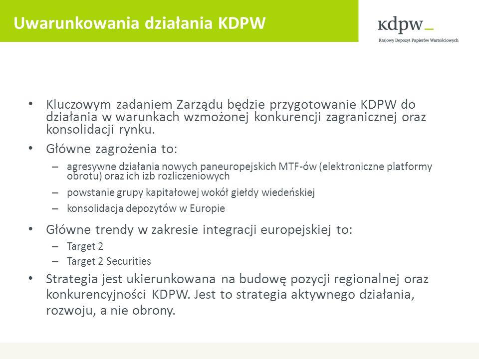 Uwarunkowania działania KDPW Kluczowym zadaniem Zarządu będzie przygotowanie KDPW do działania w warunkach wzmożonej konkurencji zagranicznej oraz kon