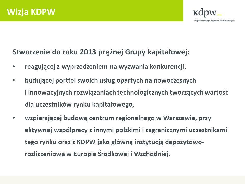 Wizja KDPW Stworzenie do roku 2013 prężnej Grupy kapitałowej: reagującej z wyprzedzeniem na wyzwania konkurencji, budującej portfel swoich usług opart