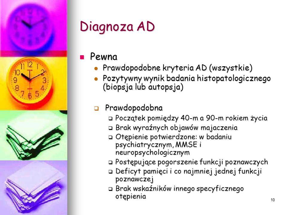 10 Diagnoza AD Pewna Pewna Prawdopodobne kryteria AD (wszystkie) Prawdopodobne kryteria AD (wszystkie) Pozytywny wynik badania histopatologicznego (bi