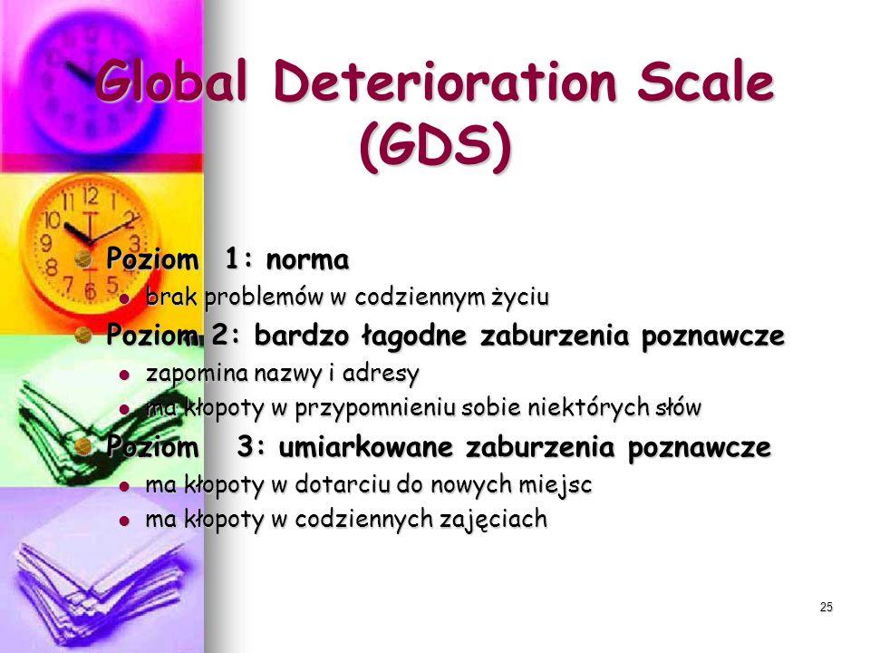 25 Global Deterioration Scale (GDS) Poziom 1: norma brak problemów w codziennym życiu brak problemów w codziennym życiu Poziom 2: bardzo łagodne zabur