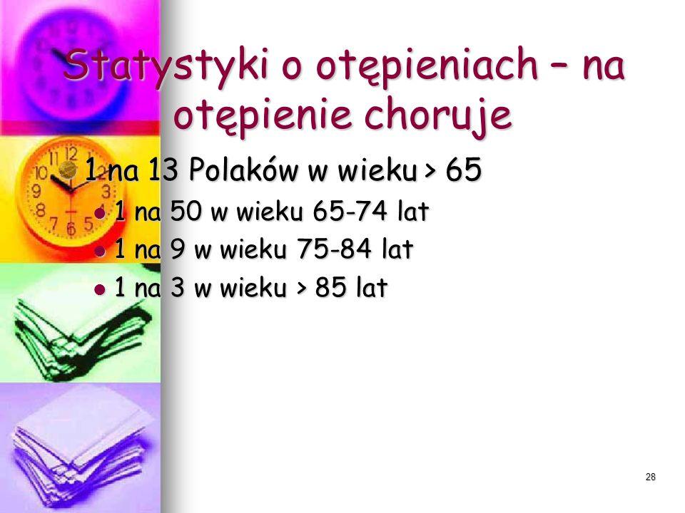 28 Statystyki o otępieniach – na otępienie choruje 1 na 13 Polaków w wieku > 65 1 na 50 w wieku 65-74 lat 1 na 50 w wieku 65-74 lat 1 na 9 w wieku 75-