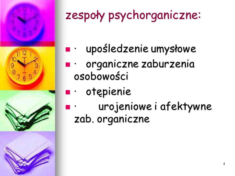 4 zespoły psychorganiczne: · upośledzenie umysłowe · upośledzenie umysłowe · organiczne zaburzenia osobowości · organiczne zaburzenia osobowości · otę