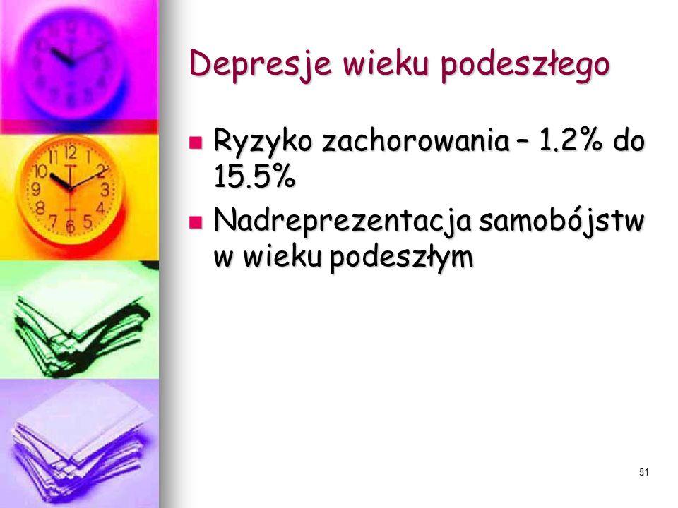 51 Depresje wieku podeszłego Ryzyko zachorowania – 1.2% do 15.5% Ryzyko zachorowania – 1.2% do 15.5% Nadreprezentacja samobójstw w wieku podeszłym Nad