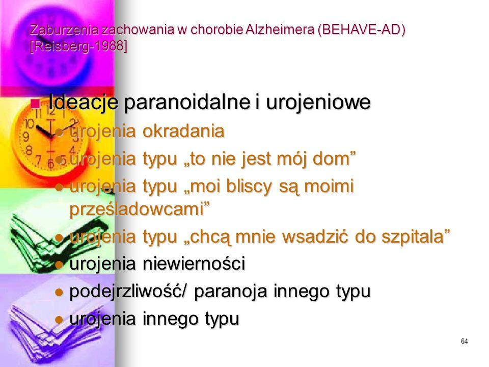 64 Zaburzenia zachowania w chorobie Alzheimera (BEHAVE-AD) [Reisberg-1988] Ideacje paranoidalne i urojeniowe Ideacje paranoidalne i urojeniowe urojeni