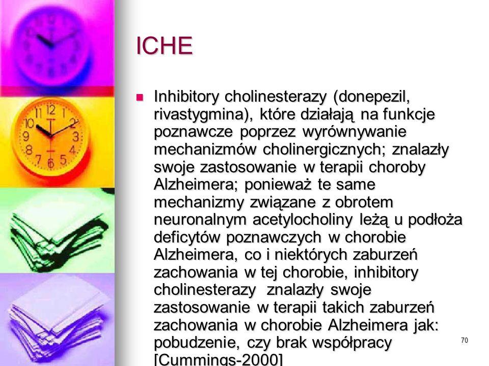 70 ICHE Inhibitory cholinesterazy (donepezil, rivastygmina), które działają na funkcje poznawcze poprzez wyrównywanie mechanizmów cholinergicznych; zn