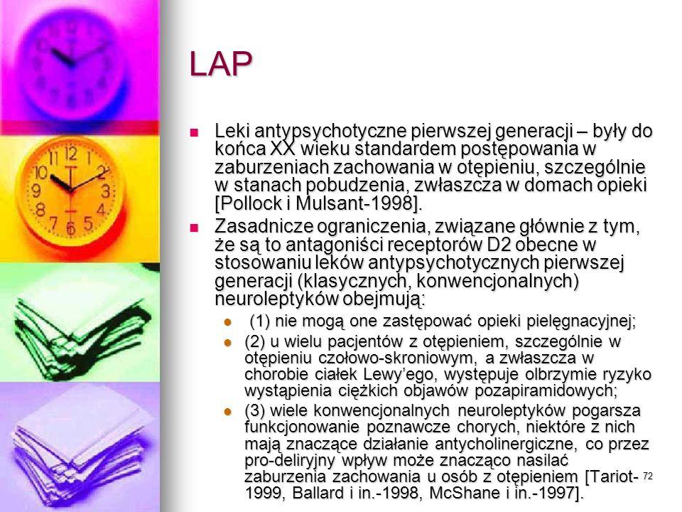 72 LAP Leki antypsychotyczne pierwszej generacji – były do końca XX wieku standardem postępowania w zaburzeniach zachowania w otępieniu, szczególnie w