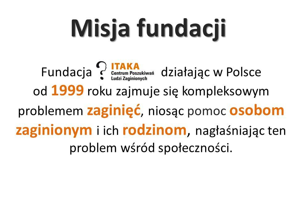 Misja fundacji Fundacja działając w Polsce od 1999 roku zajmuje się kompleksowym problemem zaginięć, niosąc pomoc osobom zaginionym i ich rodzinom, na