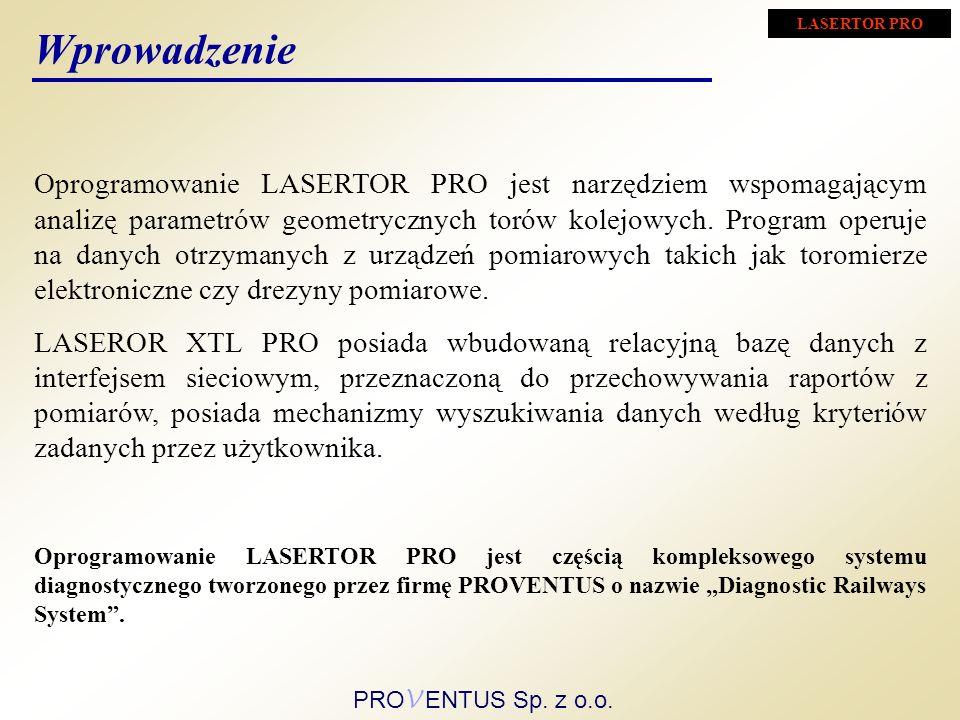 Oprogramowanie LASERTOR PRO jest narzędziem wspomagającym analizę parametrów geometrycznych torów kolejowych. Program operuje na danych otrzymanych z