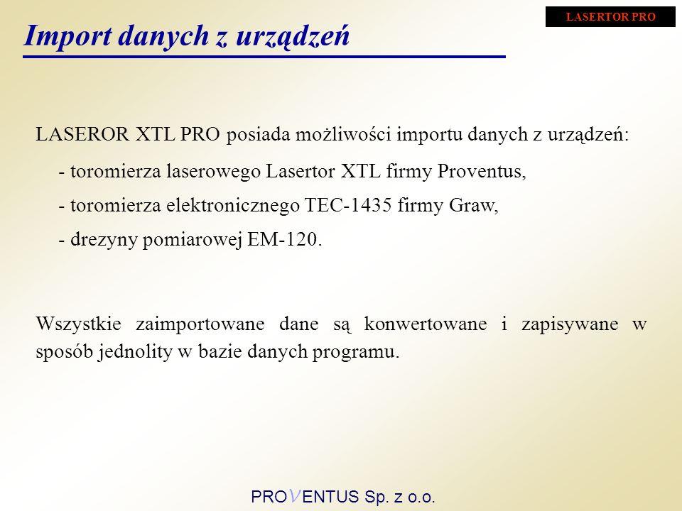 - toromierza laserowego Lasertor XTL firmy Proventus, LASEROR XTL PRO posiada możliwości importu danych z urządzeń: Import danych z urządzeń - toromierza elektronicznego TEC-1435 firmy Graw, - drezyny pomiarowej EM-120.