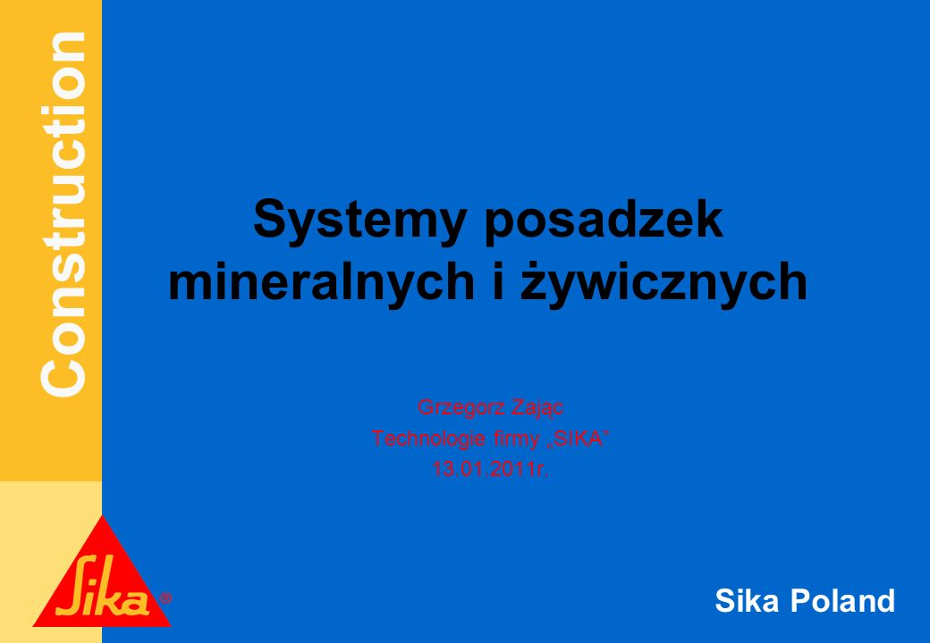 Construction Sika Poland Szczeliny powinny być wypełnione szczelnym materiałem o następujących właściwościach: s Możliwość ruchu do 20% s Odporność na wodę pod ciśnieniem s Odporność na lekkie obciążenia chemiczne s Odporność na ruch kołowy Sikaflex - PRO 3 WF Wypełnienie szczelin
