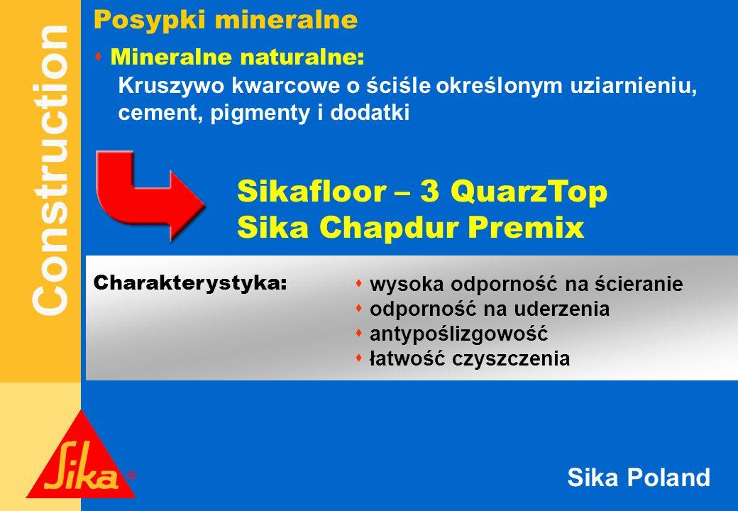 Construction Sika Poland Sikafloor – utwardzenie powierzchniowe Dostępne kolory: SzaryJasno szary Biały Zielony Czarny Czerwony Żółty Niebieski Zużycie / warunki użytkowania: Sikafloor - Szary Kolorowe Odporność 1 MetalTop 7 kg/m 2 7 kg/m 2 ścieranie / uderzenia 2 SynTop4 kg/m 2 5 kg/m 2 ścieranie / uderzenia 3 QuartzTop3 - 5 kg/m 2 5 kg/m 2 ścieranie
