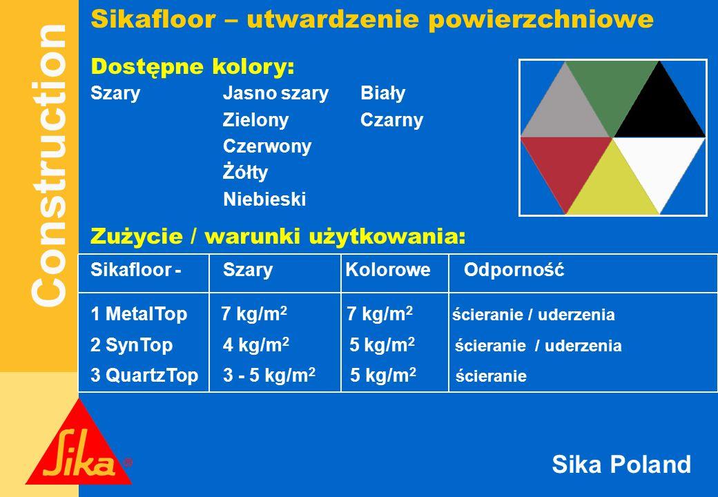 Construction Sika Poland Sikafloor – utwardzenie powierzchniowe Dostępne kolory: SzaryJasno szary Biały Zielony Czarny Czerwony Żółty Niebieski Zużyci