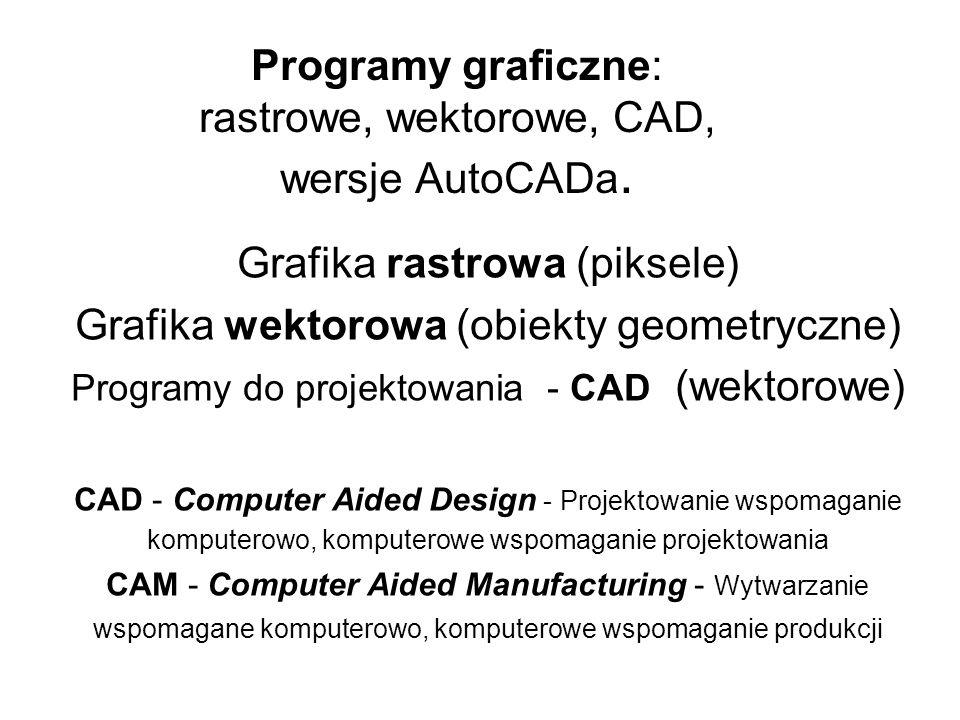 Programy graficzne: rastrowe, wektorowe, CAD, wersje AutoCADa. Grafika rastrowa (piksele) Grafika wektorowa (obiekty geometryczne) Programy do projekt