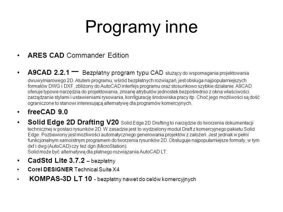 Programy inne ARES CAD Commander Edition A9CAD 2.2.1 – Bezpłatny program typu CAD służący do wspomagania projektowania dwuwymiarowego 2D. Atutem progr