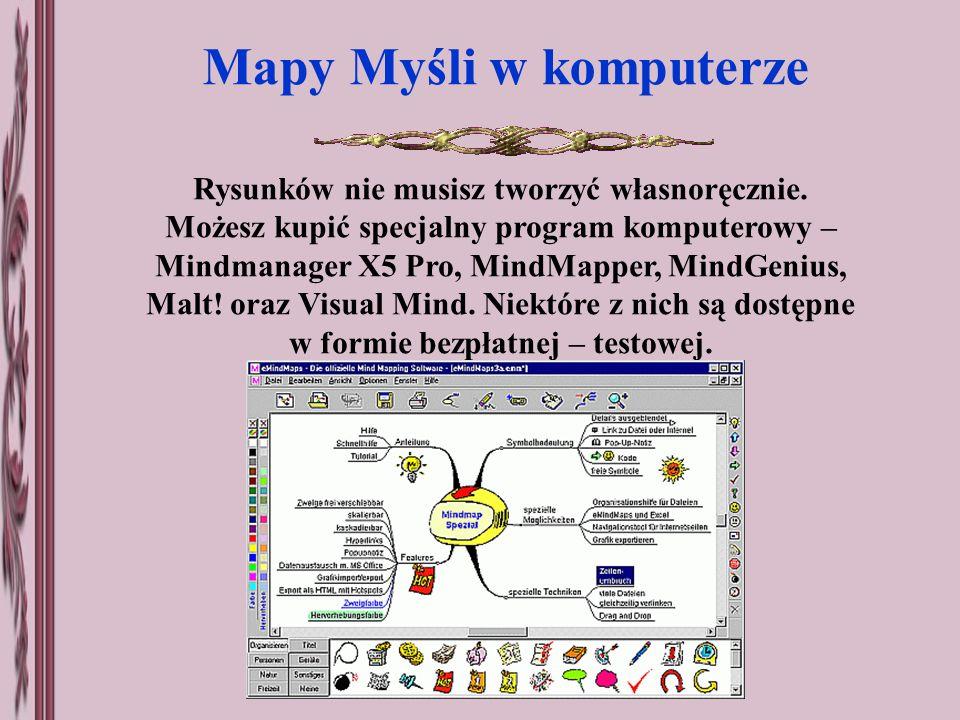 Rysunków nie musisz tworzyć własnoręcznie. Możesz kupić specjalny program komputerowy – Mindmanager X5 Pro, MindMapper, MindGenius, Malt! oraz Visual