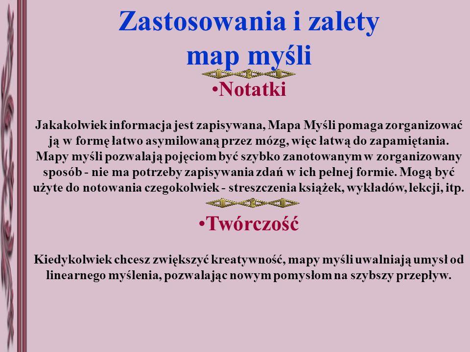 Zastosowania i zalety map myśli Notatki Jakakolwiek informacja jest zapisywana, Mapa Myśli pomaga zorganizować ją w formę łatwo asymilowaną przez mózg
