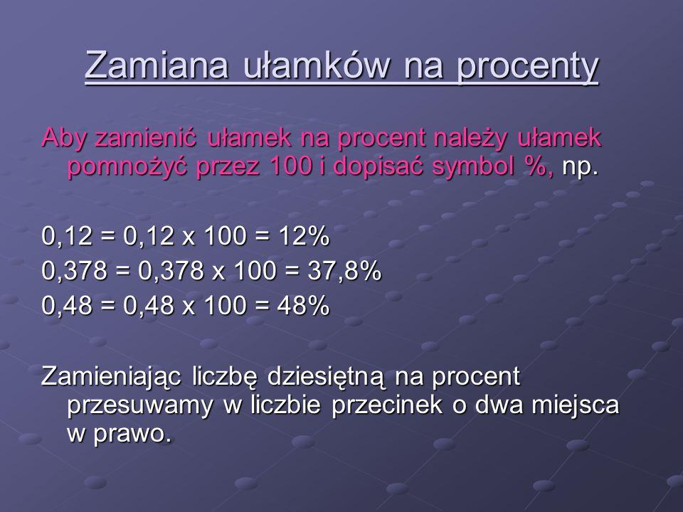 Zamiana ułamków na procenty Aby zamienić ułamek na procent należy ułamek pomnożyć przez 100 i dopisać symbol %, np. 0,12 = 0,12 x 100 = 12% 0,378 = 0,